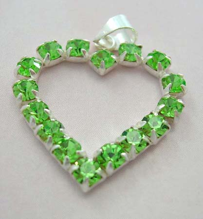 Cz fashion jewelry charm lover wholesale supplier - sterling silver heart pendant with multi green Cz embedded