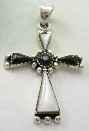 Wholesale religious cross pendant pearl shopping - Cross pendant with white mother of pearl and onyx gemstone in 925 sterling silver