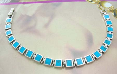 Turquoise jewelry wholesaler provide the lastest custom bracelet design - sterling silver bracelet in square shape with turquoise inlay