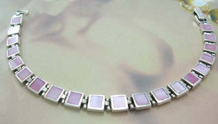 Holiday pearl bracelet jewelry shopping for her in sterling silver square-shaped bracelet with pink mother of pearl inlay