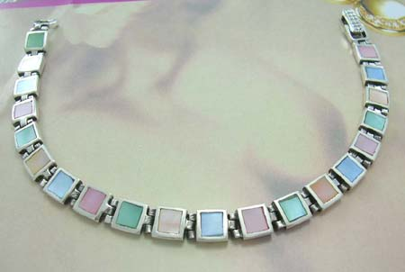 Wholesale fine mother-of-pearl jewelry in bracelet gift online - assroted mother of pearl 925 stamped sterling silver bracelet