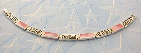 Online pearl jewelry shopping wholesale distribute sterling silver bracelet in rectangular with pink mother of pearl