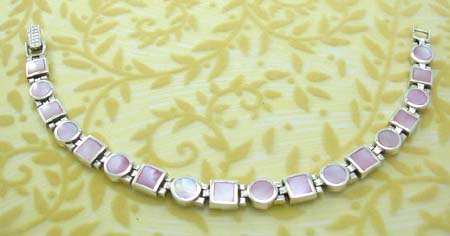 Delicate mother of pearl love gift wholesale, 925 sterling silver bracelet with pink mother of pearl inlaid rounded and square shape