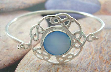Spring pearl jewelry bangle shop online for her - sterling silver bangle with rounded blue mother of pearl in middle