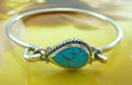 Gift for turquoise jewelry custom store wholesaler in sterling silver bangle with water-drop turquoise in middle