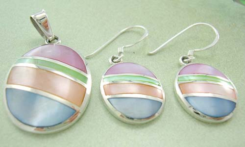 Pearls gift shop - trendy jewelry set wholesaler supply sterling silver assorted mother of pearl earrings and pendant