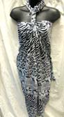 Online manufacturing agent, wild african zebra print resort wrap dress from Balinese export