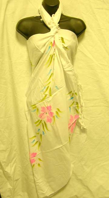 Trendy summer wear wholesale shopping catalog supplies Ladies classy pink flower print  on white balinese wrap