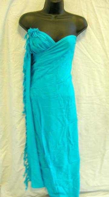 Wholesale company exports aqua blue, beach wrap cover up with tasseled hem