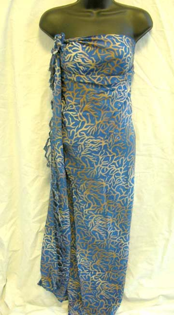 Pareo wrap manufacturer supplies crafted gold coral reef print on Balinese, sexy sarong dress