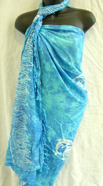 Dolphin lovers summer aparel store manufactures bali pareo wrap dress cover up