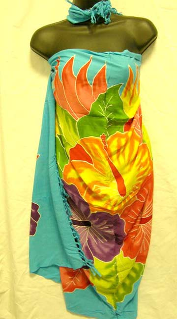 Summer apparel distributor wholesales colored hibiscus motif batik wrap dress