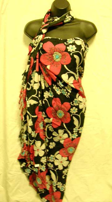 Wholesale exporter supplies ladies Indonesian floral print rayon beach sarong cover all