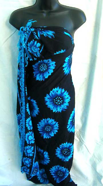 Beach wear outlet imports sexy, royal blue daisy design on Balinese style, rayon sarong dress wholesale