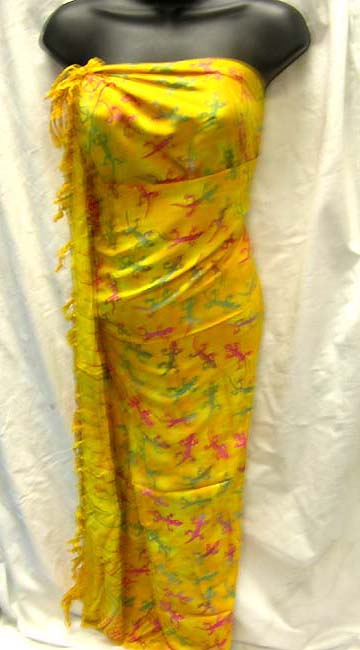 Clothing factory supplies tropical colored gecko print pattern on summer wrap from Batik  fashion wholesaler