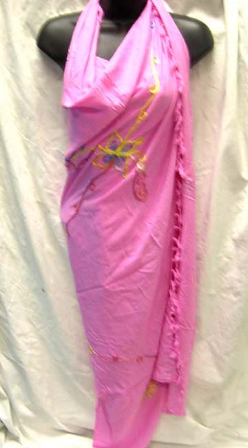 Unique resort apparel gift shop, Embroidered butterfly designed fashion sarong scarf from Indonesia exporter