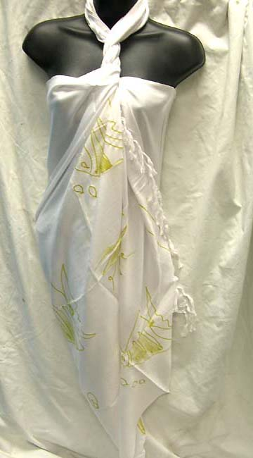 Ladies online fashion boutique,  tropical print decorated, white pareo sarong from export supplier
