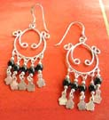 Custume jewelry wholesale distributor supply black beads silver Chandelier hoop