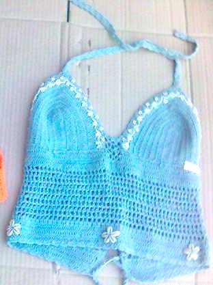Handmade lady sexy clothing catalog online provide lady's crochet bra top