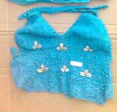 Knitted floral seashell aquarium crochet top with fully lined, tie at top and back